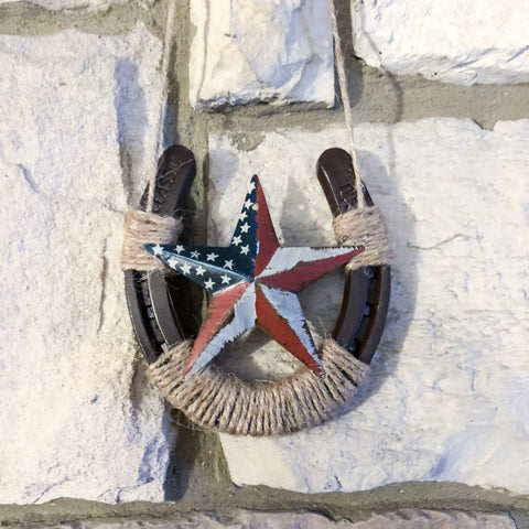 Horseshoe Wall Decor with American Flag Star