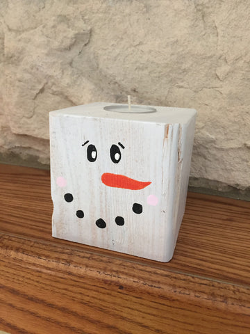 Christmas Snowman Block Tealight Holder