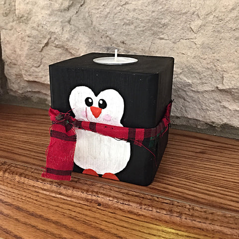 Christmas Penguin Block Tealight Holder