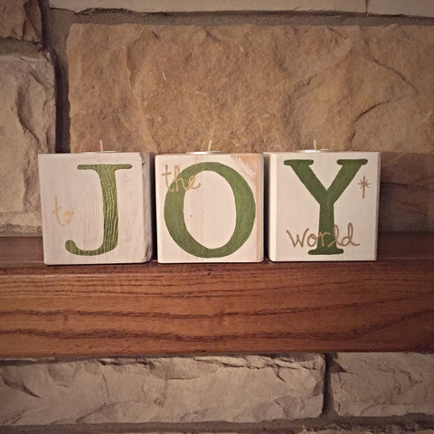 Christmas Joy Block Tealight Holder