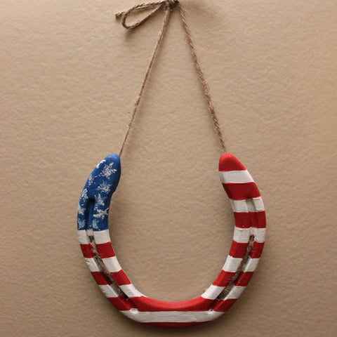 Hand Painted American Flag Horseshoe