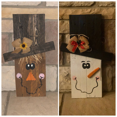 Reversible Pallet Wood Snowman/Scarecrow (small)