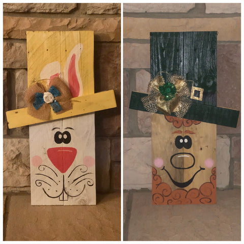 Reversible Pallet Wood Easter Bunny/Leprechaun (small)