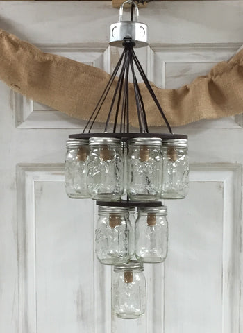 Mason Jar Chandelier 3-Tier