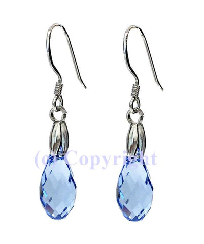 Sterling Silver 925 Earring Embellished  with Crystals from Swarovski Briolette 13 mm