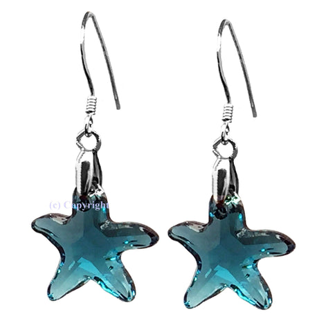 Sterling Silver 925 Earrings Embellished with Crystals from Swarovski Starfish 16mm