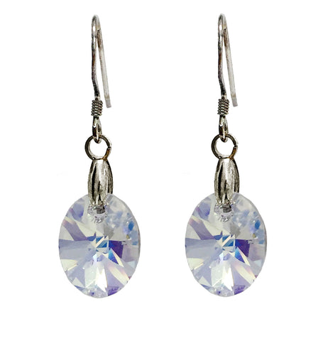 Sterling Silver 925 Earrings Embellished with Crystals from Swarovski Oval 12mm