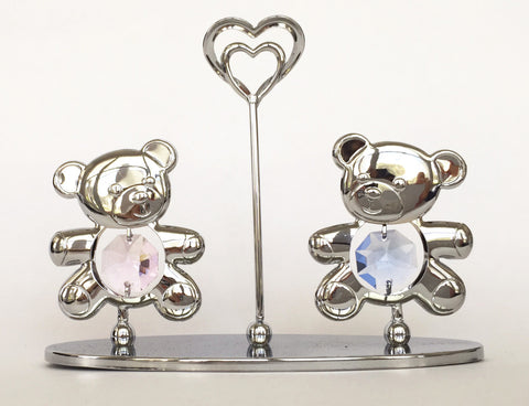 Two Bears and Heart Figure Made with Crystals from Swarovski