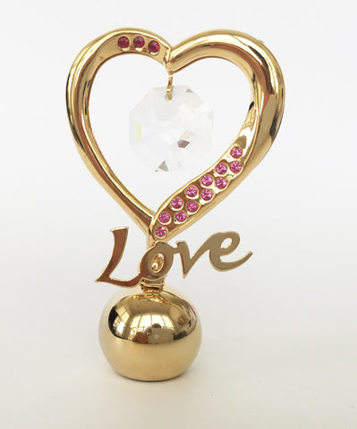 """Love"" Figurine 24K Gold Plated Embellished with Crystals from Swarovski"