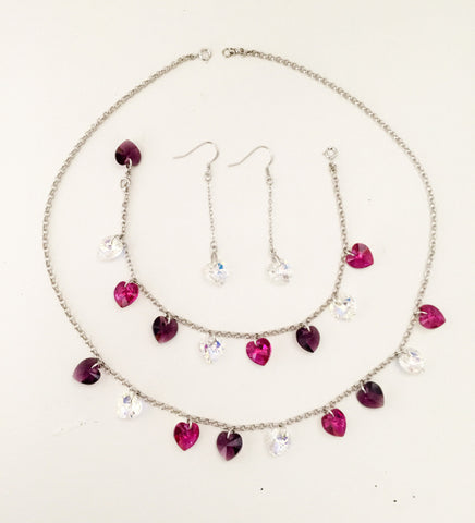 Three Color Hearts Set Embellished with Crystal from Swarovski