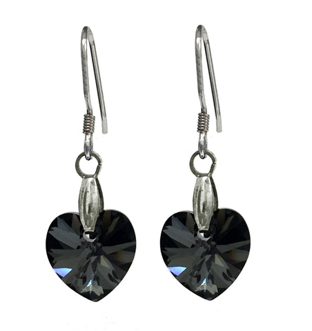 Sterling Silver 925 Earrings Embellished with Crystals from Swarovski Hearts 10mm