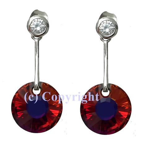 Sterling Silver 925 Dangle Studs Embellished with Crystals from Swarovski Sun 12 mm