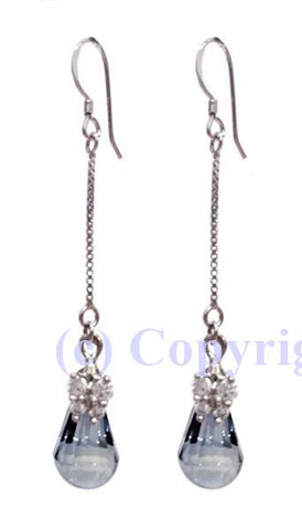 Sterling Silver 925 Earrings Embellished with Crystals from Swarovski Cabochette 13mm