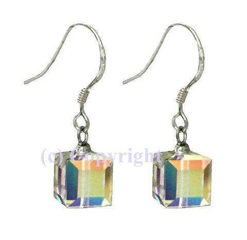 Sterling Silver 925 Pave Earrings Embellished with Crystals from Swarovski Cube 8 mm