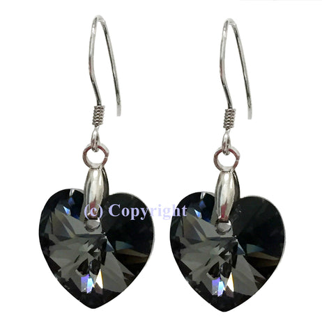 Sterling Silver 925 Earrings Embellished with Crystals from Swarovski Hearts 14mm
