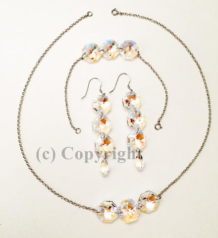 Sterling Silver 925 Set Embellished with Crystal from Swarovski Octagon S2