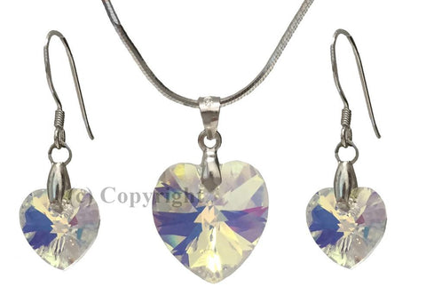 Sterling Silver Set Embellished with Crystal from Swarovski Hearts
