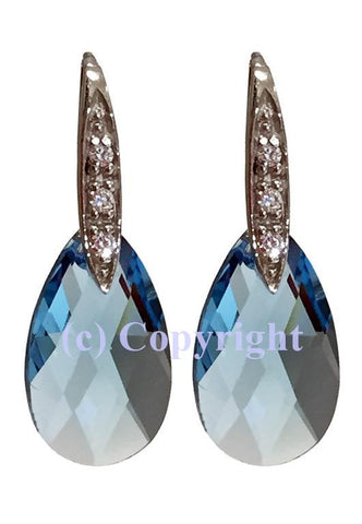 Sterling Silver Earrings 925 Embellished with Crystals from Swarovski Pear 22 mm