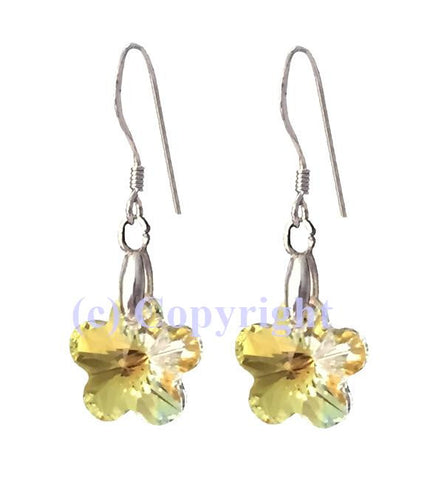 Sterling Silver 925 Earring Embellished with Crystals from Swarovski Flower 12 mm
