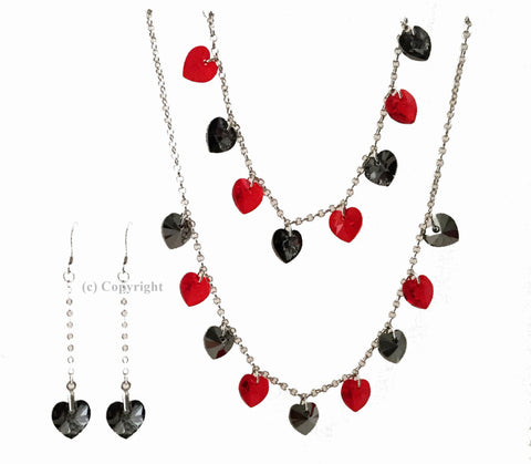 Two Color Hearts Set Embellished with Crystal from Swarovski