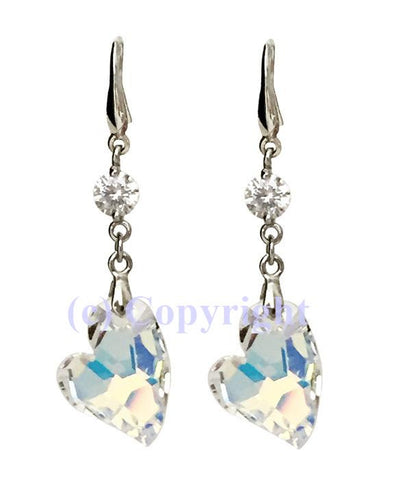 Sterling Silver 925 Earrings Embellished with Crystals from Swarovski 'Devoted 2 U' Hearts 17mm