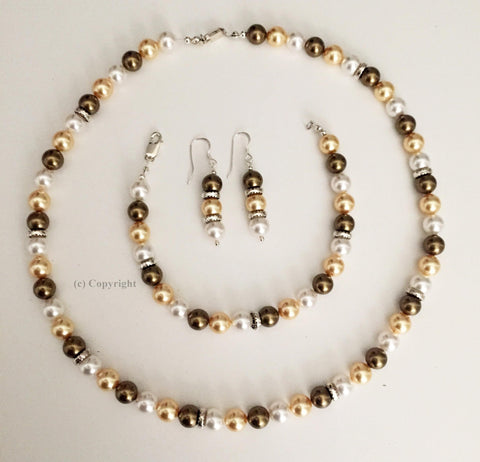 Three Color Pearl Set Embellished with Crystal from Swarovski