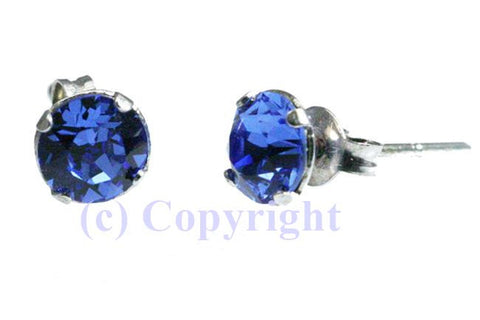 Sterling Silver 925 Birthstone Studs Embellished with Crystals from Swarovski 5mm