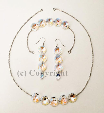 Sterling Silver 925 Set Embellished with Crystal from Swarovski Octagon S3