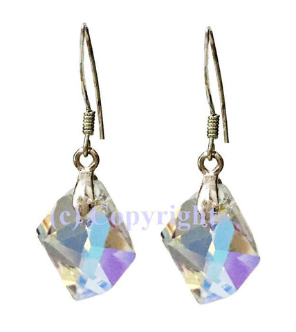 Sterling Silver Earrings Embellished with Crystals from Swarovski Cosmic 14mm