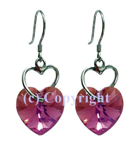 Sterling Silver Earrings 925 Embellished with Crystals from Swarovski Double Hearts 14mm