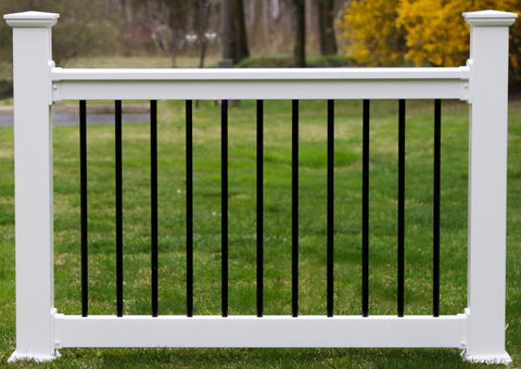 Vinyl Railing Kit with Round Black Aluminum Balusters