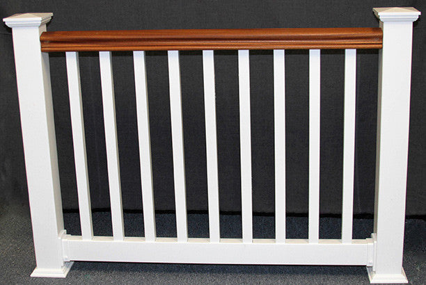 Vinyl Railing Kit with Mahogany Top Rail