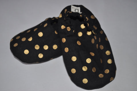 Organic Cotton Soft Sole Shoes - Golden Spots on Black Dots
