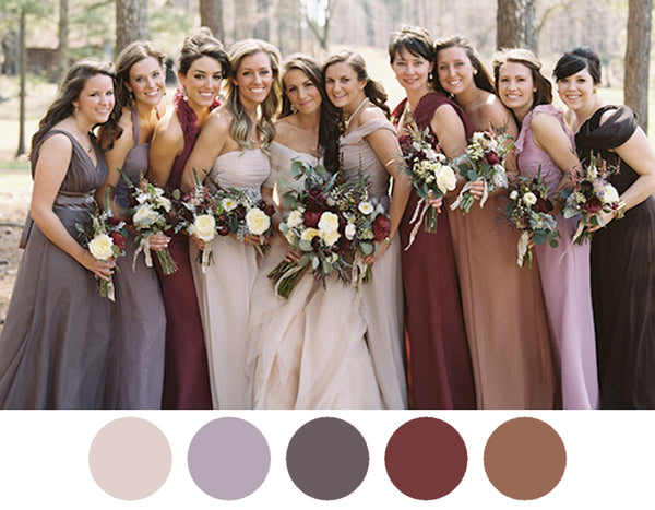 Autumn-spice-maroon-dusty-colored-bridesmaid-dresses