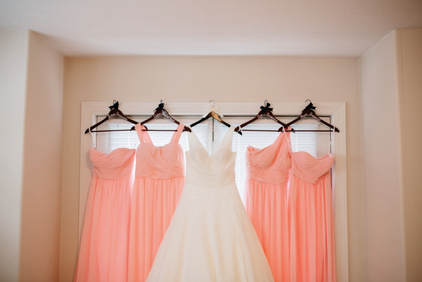 Bridesmaid Dresses Hanging With Wedding Dress