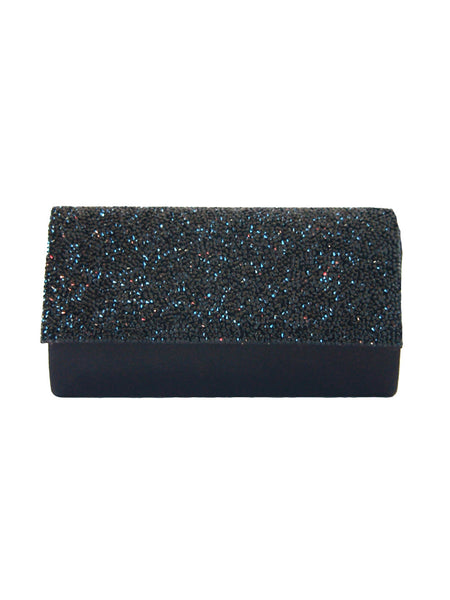 Black Glitter Envelope Clutch
