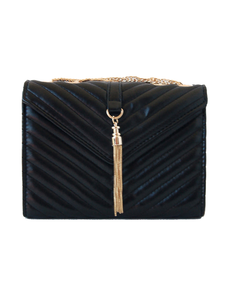 Chelsea Quilted Crossbody With Tassel - Black