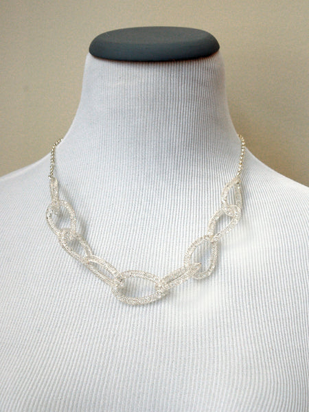 Clear Crystal Chain Link Necklace