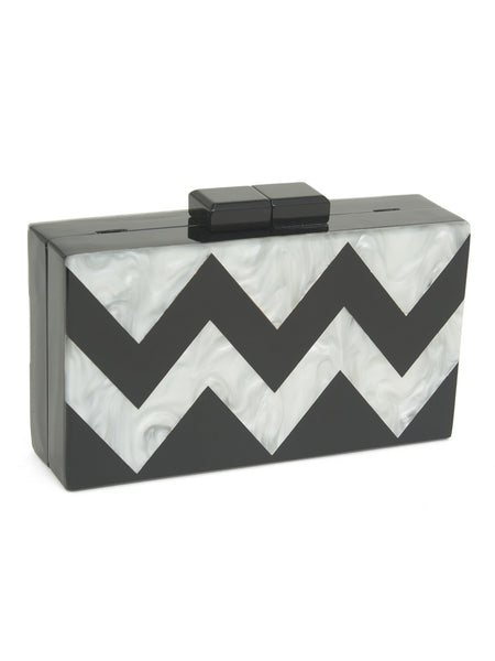 Faya Pearlescent Chevron Box Clutch