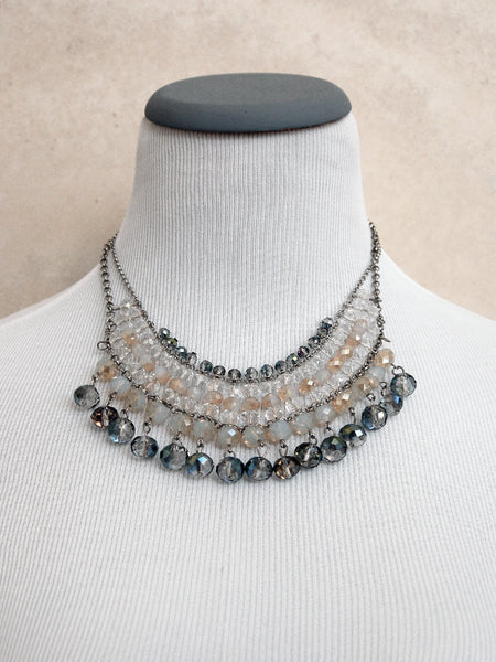 Frosted Iridescent and Crystal Collar Necklace