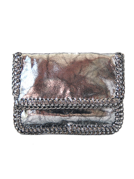 Isabella Chain Foldover Metallic Clutch - Gold