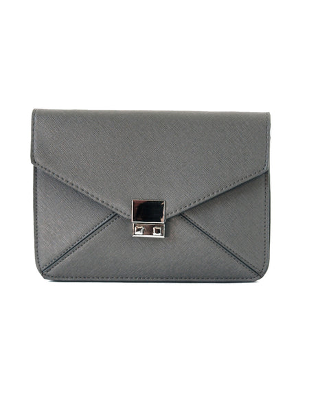 Textured Leather Envelope Clutch