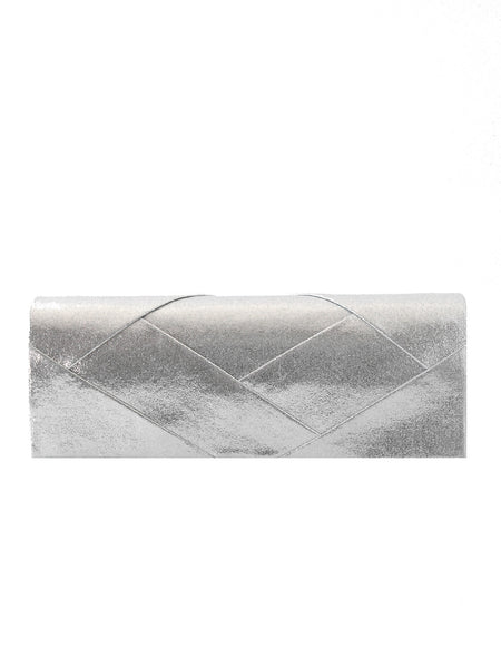 Samantha Pleated Metallic Roll Clutch - Black