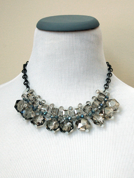 Smoked Crystal Collar Statement Necklace