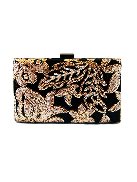 featured-Victoria Floral Gold Sequin Clutch