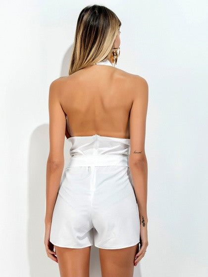 White Halter Neck Plunge Sleeveless Backless D-Ring Belt Romper Playsuit