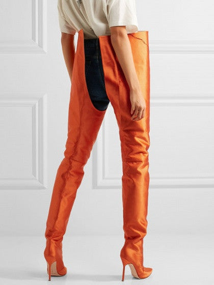 Orange Satin Look Pointed Heeled Over The Waist Boots