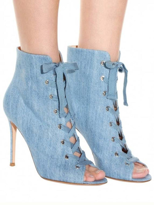 Blue Denim Peep Toe Lace Up Detail Heeled Sandals