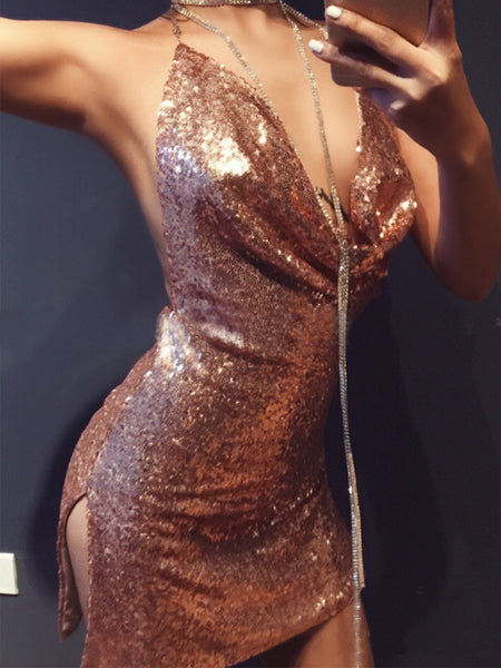 Sexy Golden Cowl Front Open Back Split Side Sequined Clubwear Bodycon Dress
