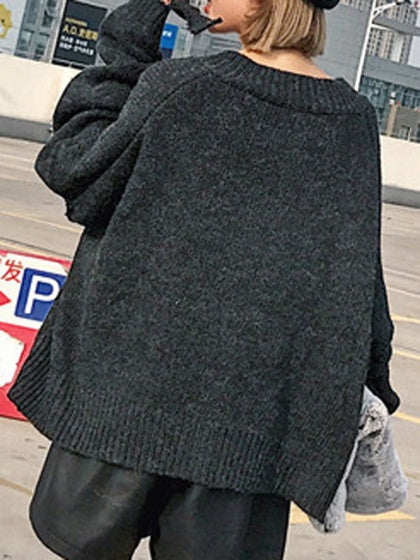 Dark Gray V-neck Ripped Drop Shoulder Oversize Knit Sweater